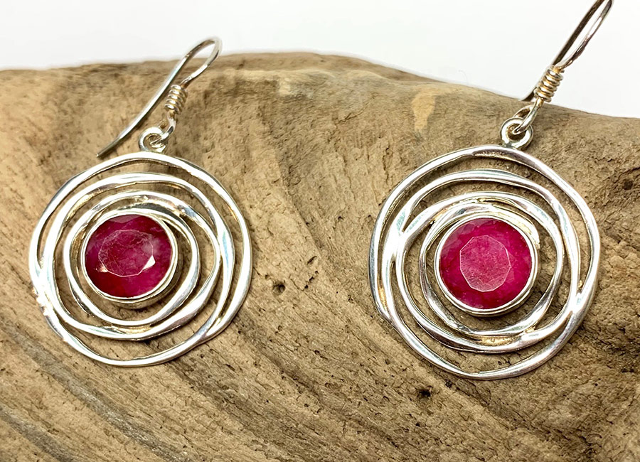 Ruby Quartz Silver Drops