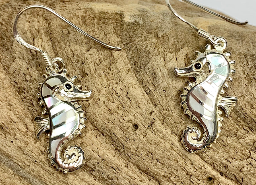Mother of Pearl Silver Sea Horse Drops